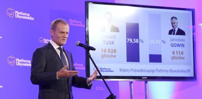 Donald Tusk po ogłoszeniu wyników wyborów na przewodniczącego Platformy Obywatelskiej.