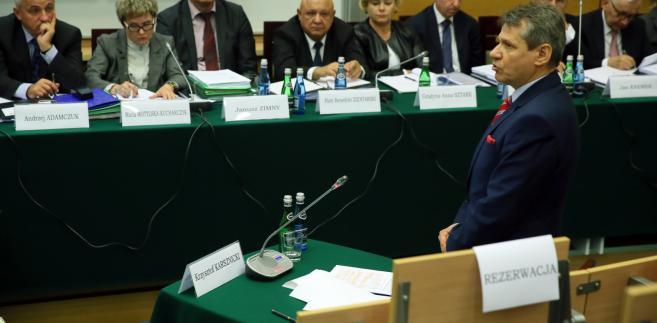 Krzysztof Karsznicki podczas publicznego przesłuchania kandydatów na prokuratora generalnego w siedzibie KRS/ fot. PAP/Tomasz Gzell