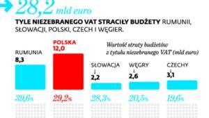Uszczerbek w VAT w Europie Środkowo-Wschodniej w 2015 r.