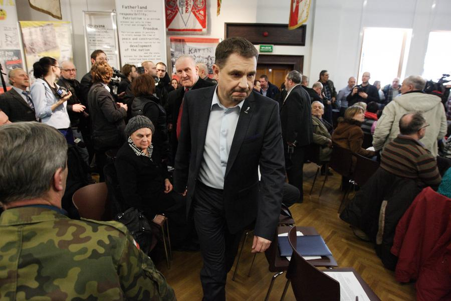 Piotr Duda podczas spotkania Platformy Oburzonych
