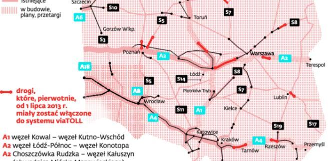 Wykaz odcinków dróg, na których 31 października 2013 r. powinien się rozpocząć pobór opłat elektronicznych