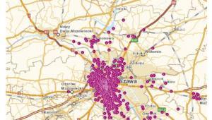 Mapa ze stacjami LTE w Warszawie i okolicach, z których mogą korzystać klienci Orange - źródło blog.orange.pl