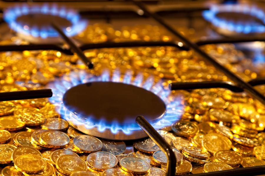 gaz, płomień, pieniądze