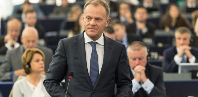 Donald Tusk w Europarlamencie w Strasburgu