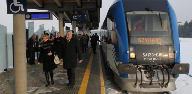 Stacja kolejowa przy terminalu pasażerskim portu lotniczego Olsztyn-Mazury w Szymanach