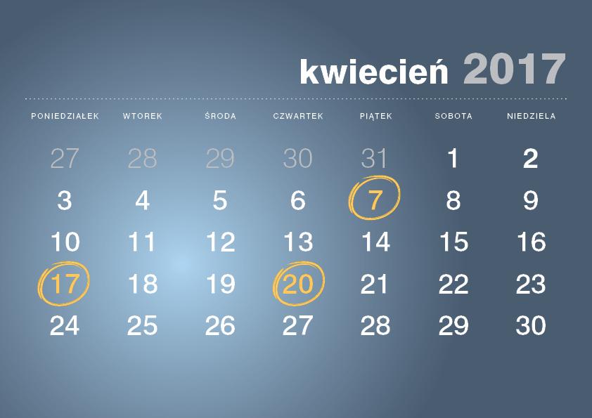 Kalendarz podatnika kwiecień