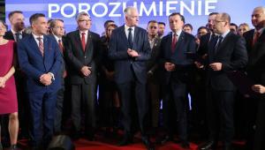 Prezes partii Polska Razem Zjednoczona Prawica, wicepremier, minister nauki i szkolnictwa wyższego Jarosław Gowin wśród uczestników spotkania.