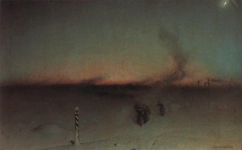 """Obraz Witolda Pruszkowskiego """"Na zesłanie w Sybir"""" (ok. 1893 r.)"""