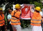 Manifestacja Akcji Demokracji przed siedzibą KRS