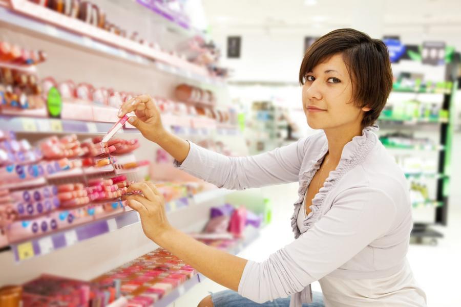 sklep, kobieta, zakupy, kosmetyki