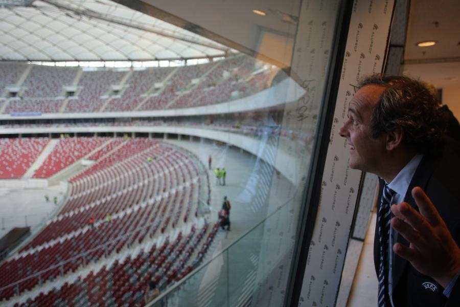 Michel Platini na Stadionie Narodowym w Warszawie 12 października 2011 roku