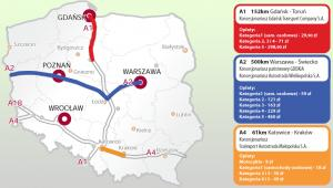 Ile zapłacimy za przejazd autostradami A1,A2 i A4