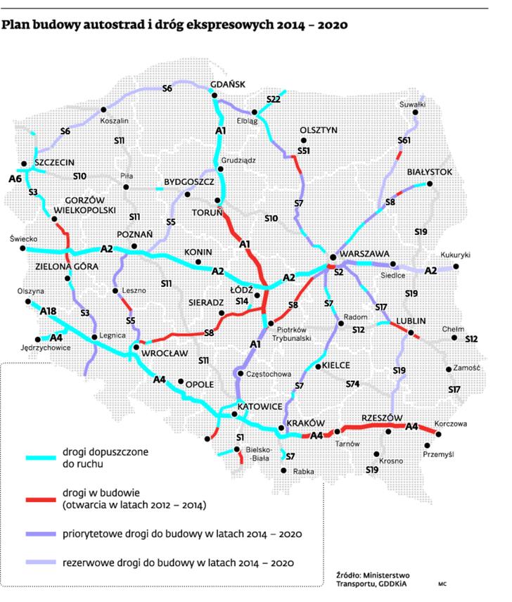 Plan budowy autostrad i dróg ekspresowych 2014 - 2020